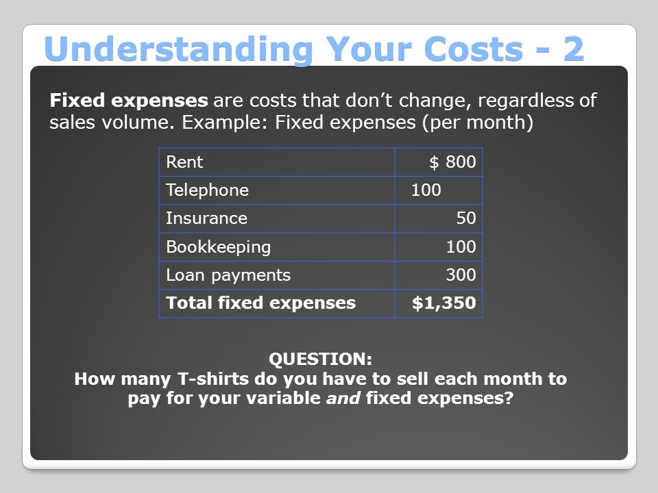 Understanding Your Costs - 2