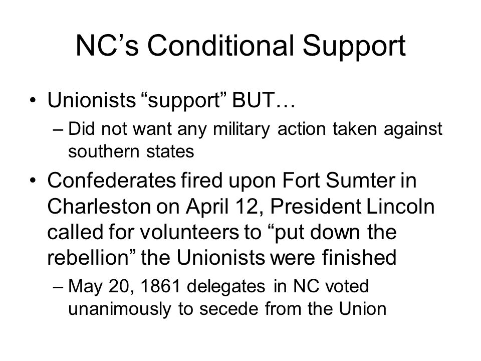 NC's Conditional Support