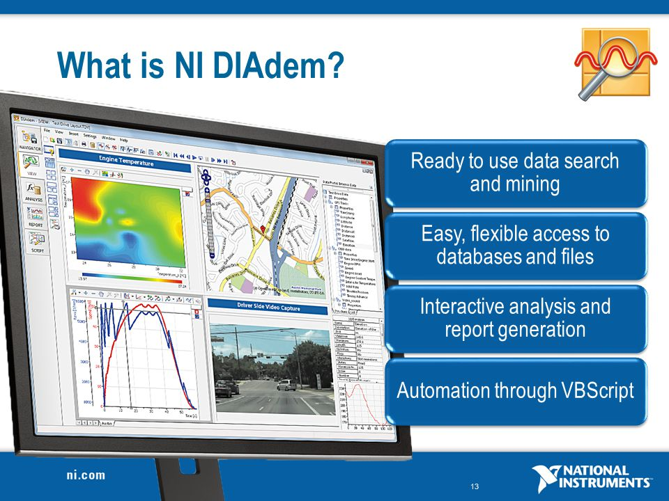 What is NI DIAdem Ready to use data search and mining