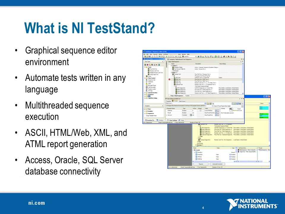 What is NI TestStand Graphical sequence editor environment
