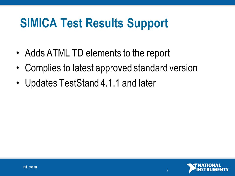 SIMICA Test Results Support