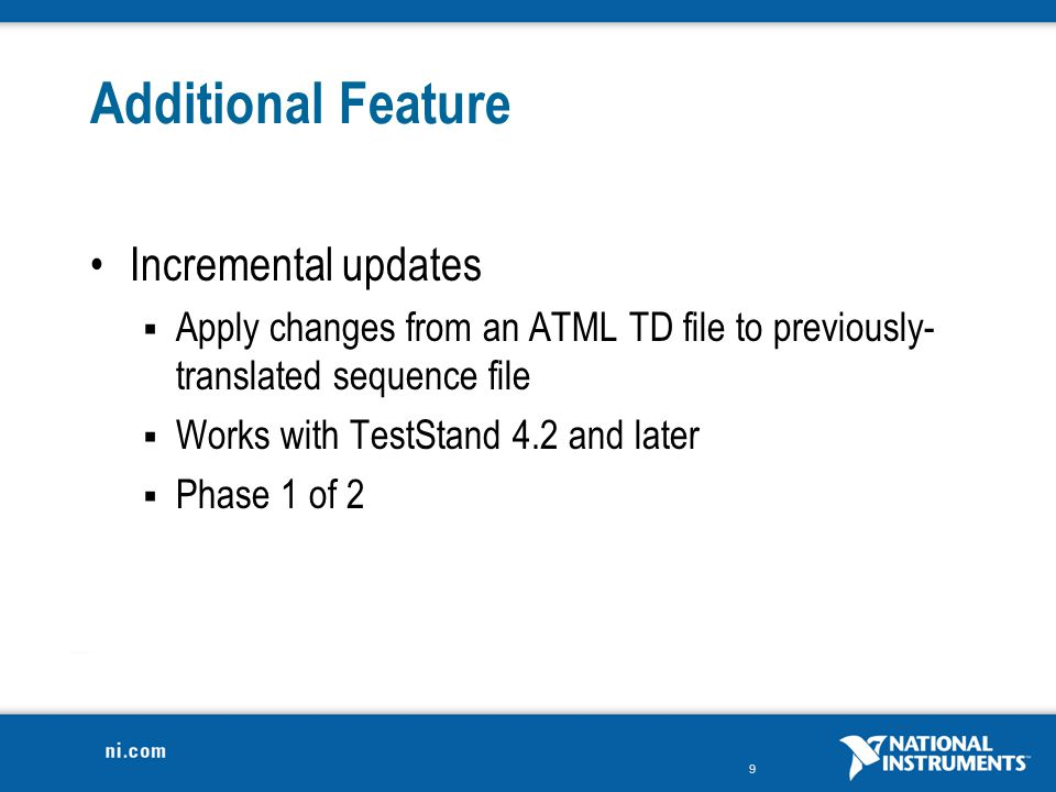 Additional Feature Incremental updates