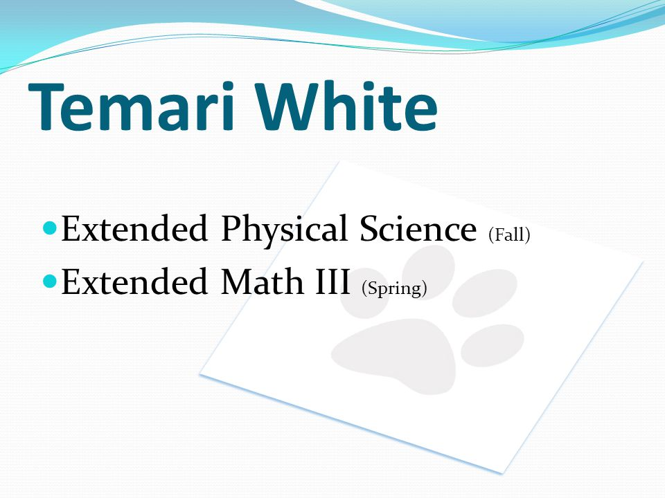 Temari White Extended Physical Science (Fall)