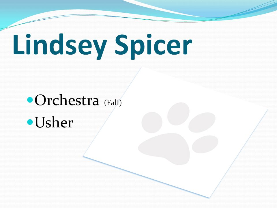 Lindsey Spicer Orchestra (Fall) Usher