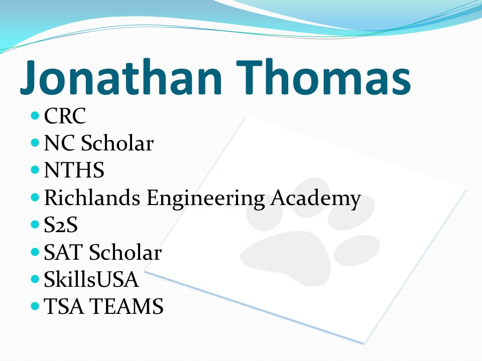 Jonathan Thomas CRC NC Scholar NTHS Richlands Engineering Academy S2S