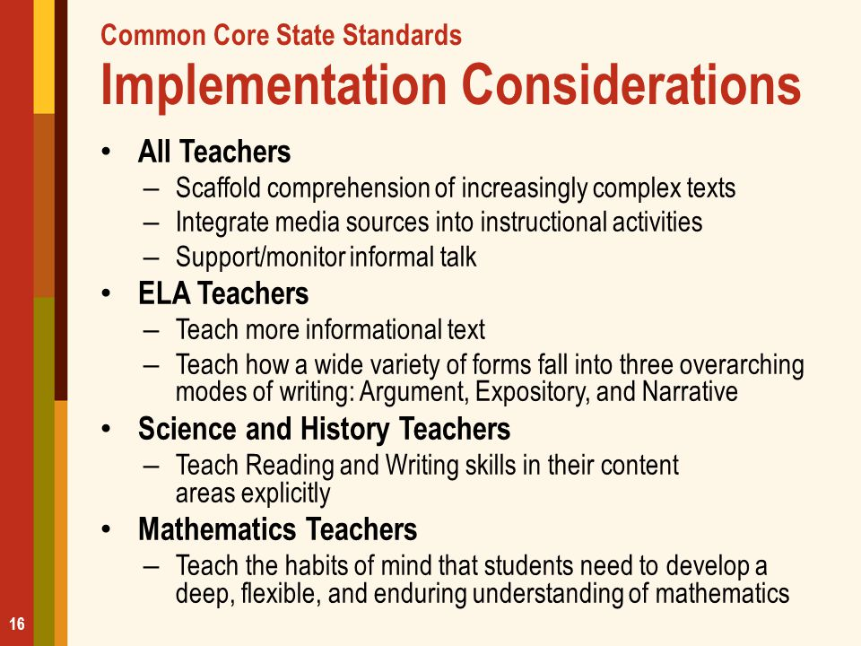 Common Core State Standards Implementation Considerations