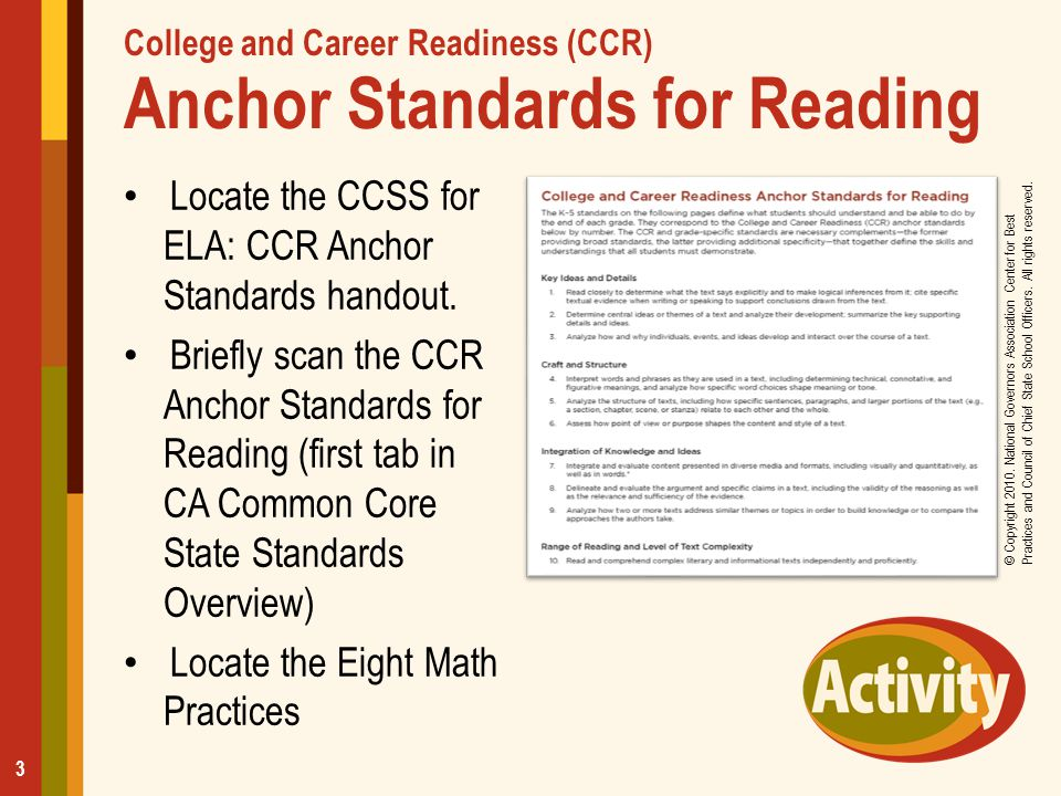 College and Career Readiness (CCR) Anchor Standards for Reading