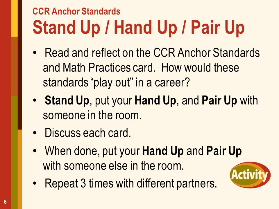 CCR Anchor Standards Stand Up / Hand Up / Pair Up