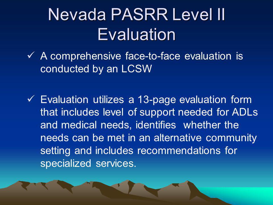 Nevada PASRR Level II Evaluation