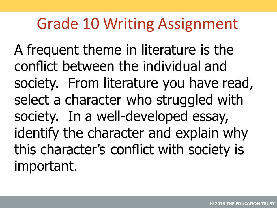 Grade 10 Writing Assignment