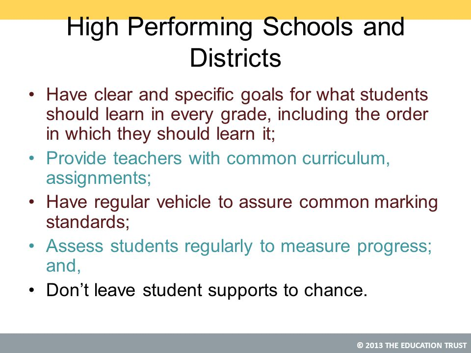 High Performing Schools and Districts