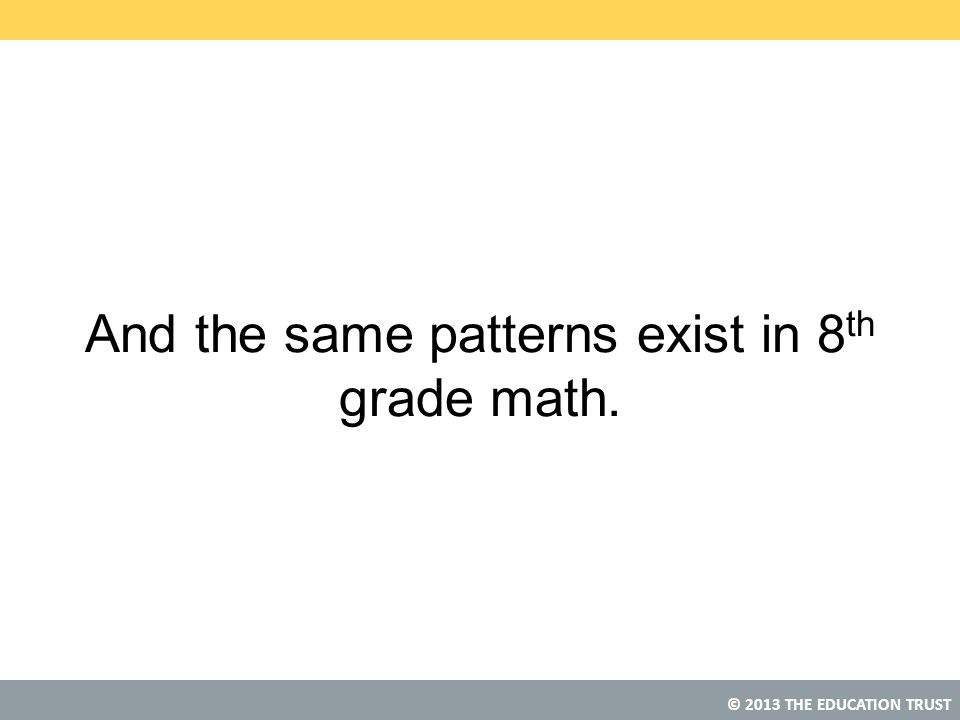 And the same patterns exist in 8th grade math.