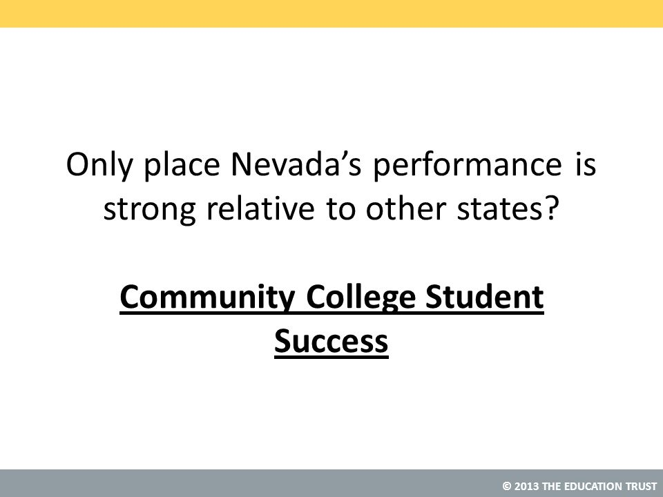 Only place Nevada's performance is strong relative to other states