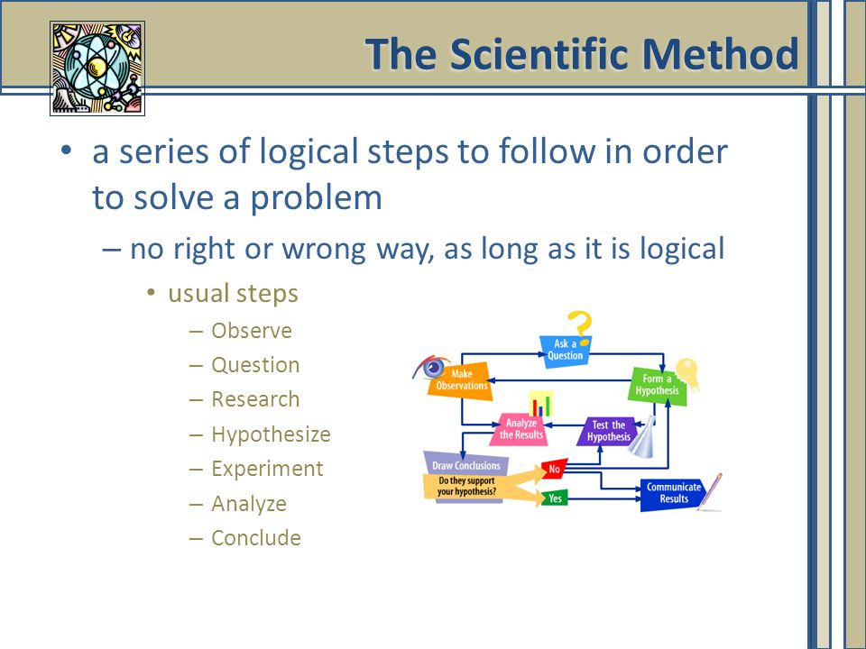 The Scientific Method a series of logical steps to follow in order to solve a problem. no right or wrong way, as long as it is logical.