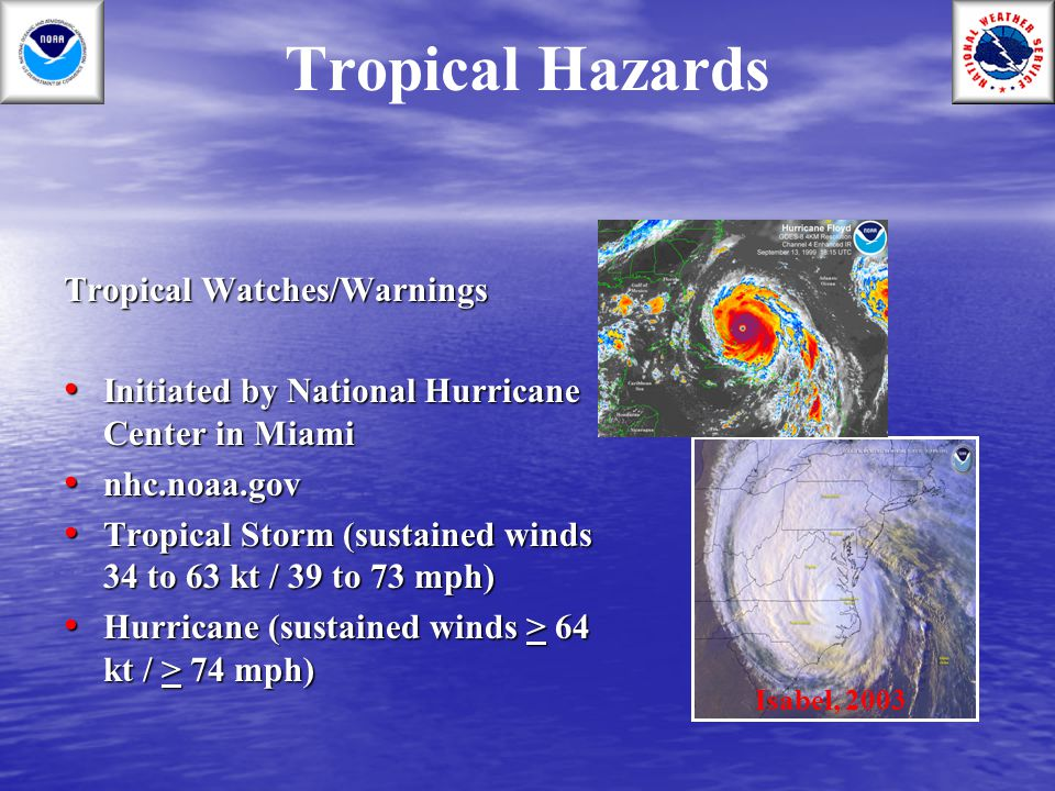 Tropical Hazards Tropical Watches/Warnings