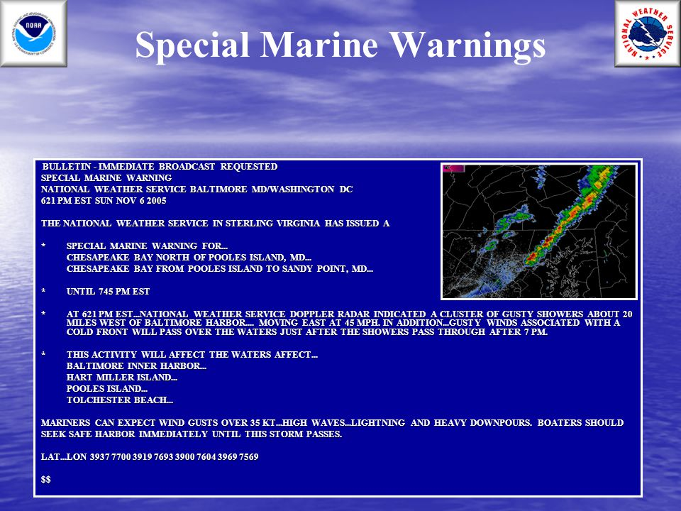 Special Marine Warnings