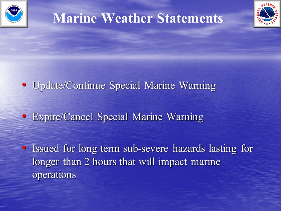 Marine Weather Statements
