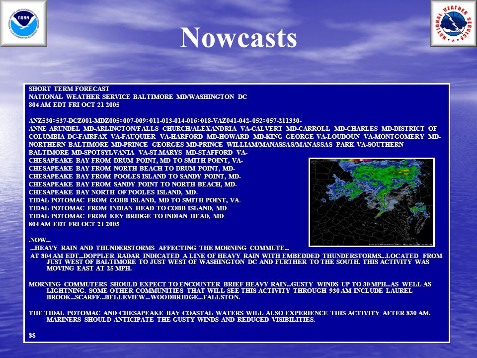 Nowcasts SHORT TERM FORECAST
