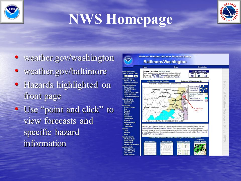 NWS Homepage weather.gov/washington weather.gov/baltimore