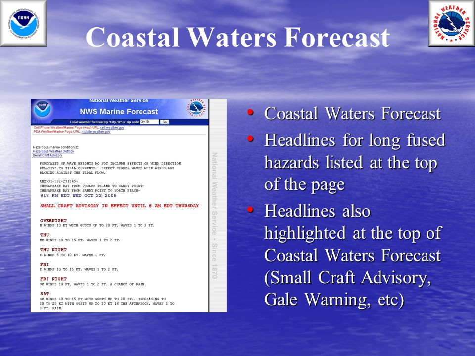 Coastal Waters Forecast