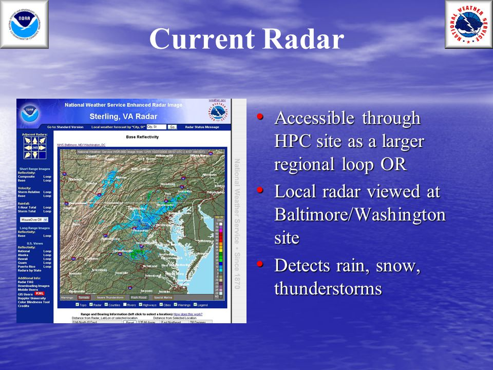 Current Radar Accessible through HPC site as a larger regional loop OR