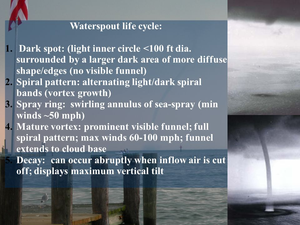 Waterspout life cycle: