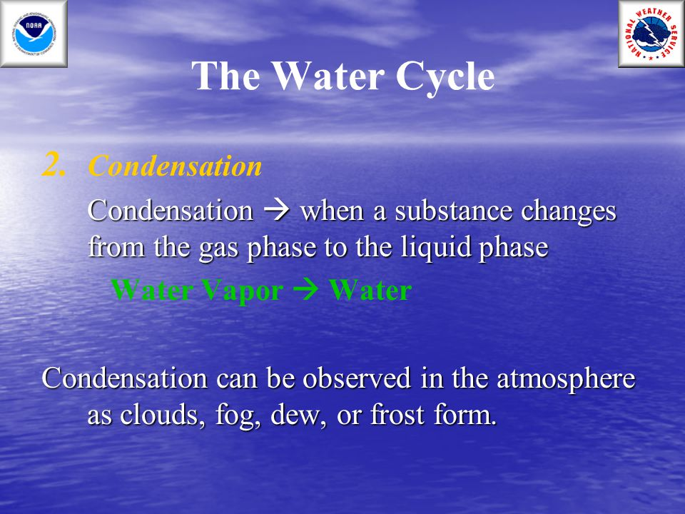 The Water Cycle Condensation