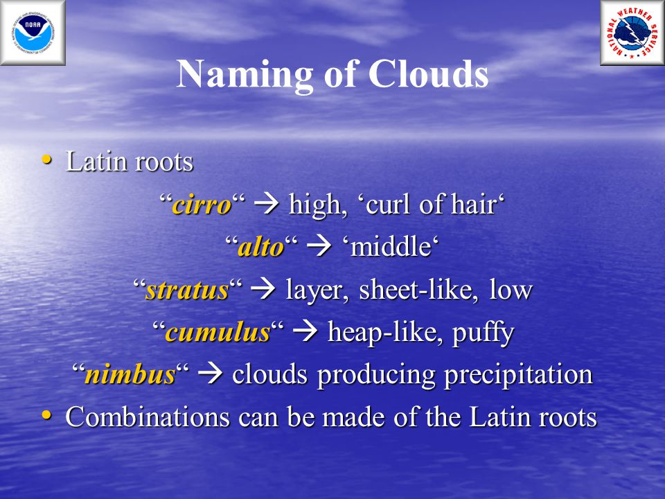 Naming of Clouds Latin roots cirro  high, 'curl of hair'