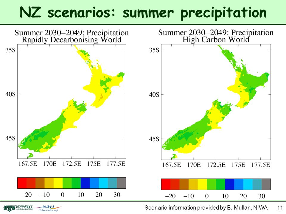 NZ scenarios: summer precipitation