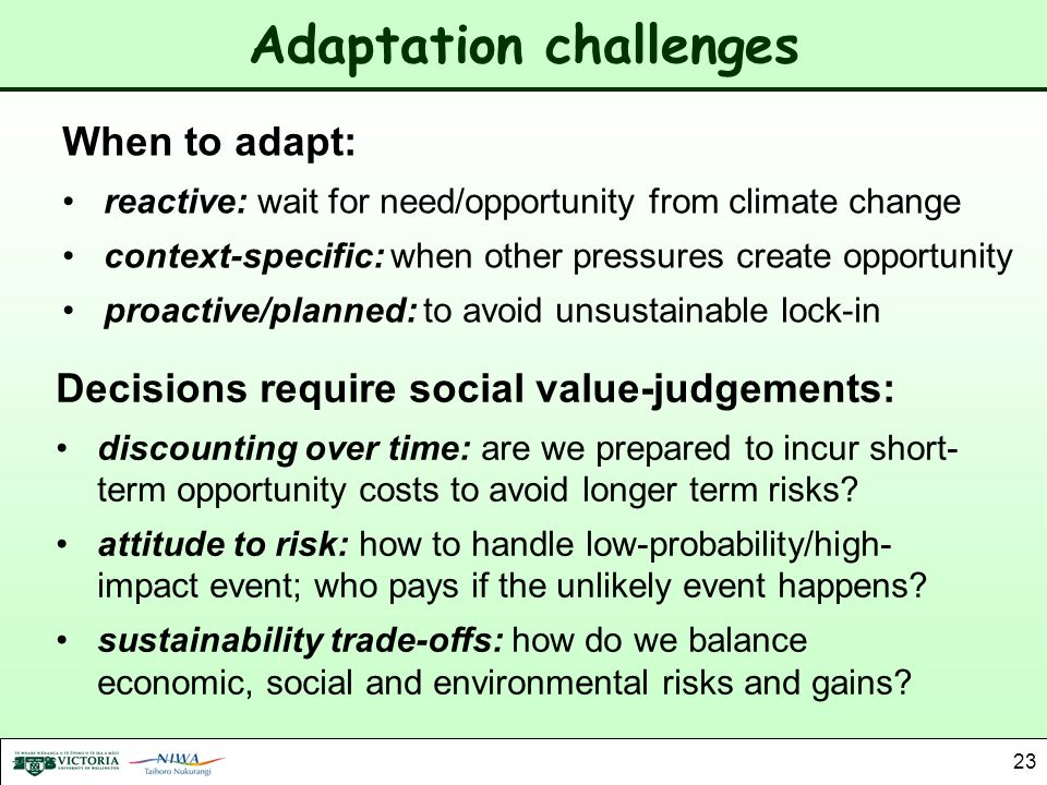 Adaptation challenges