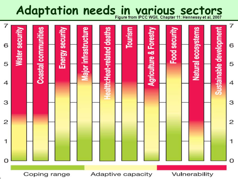 Adaptation needs in various sectors