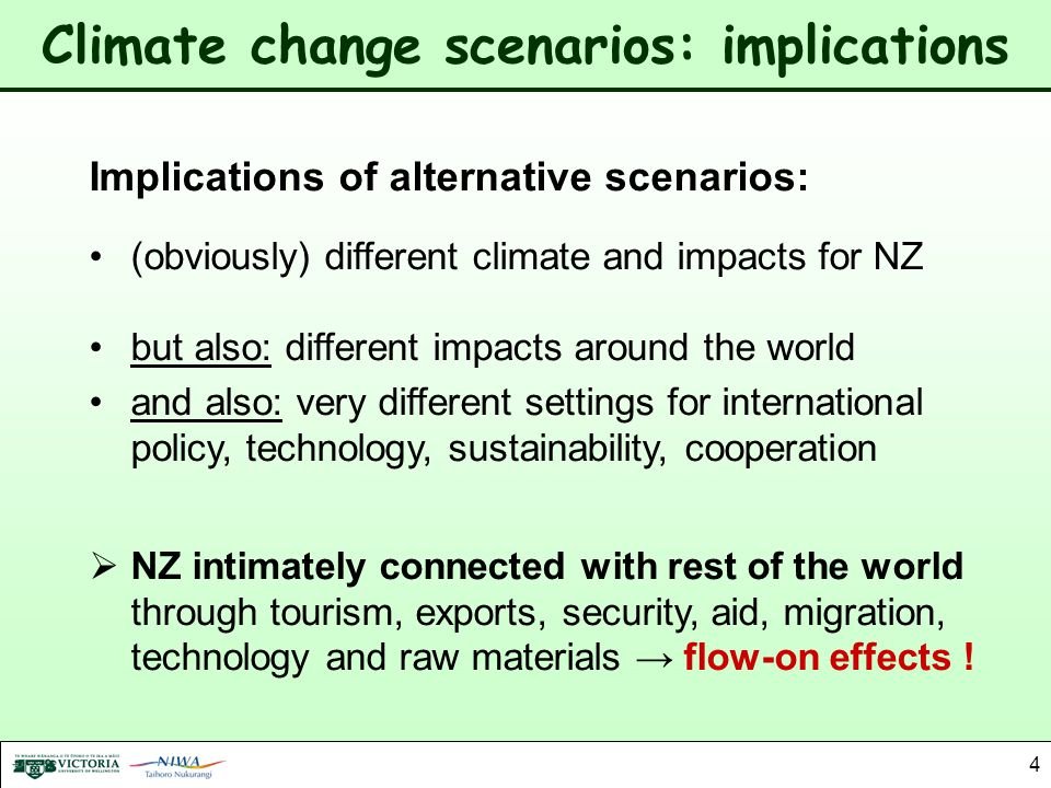 Climate change scenarios: implications