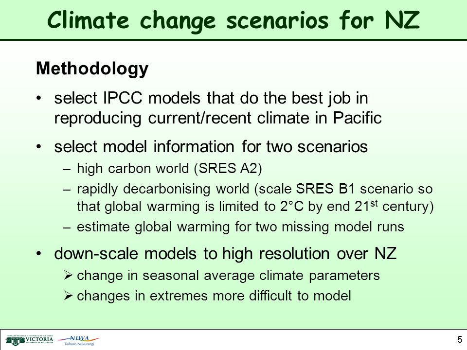 Climate change scenarios for NZ