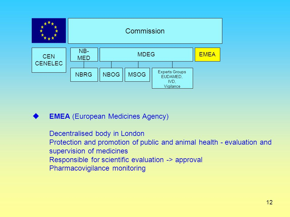 EMEA (European Medicines Agency) Decentralised body in London