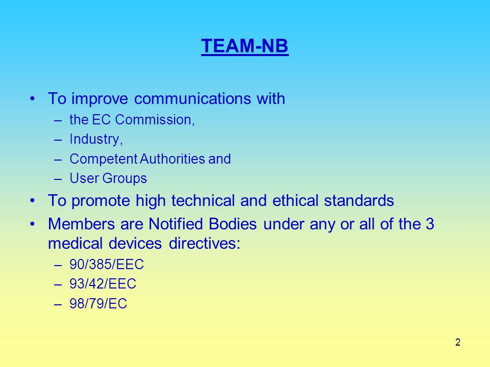 TEAM-NB To improve communications with