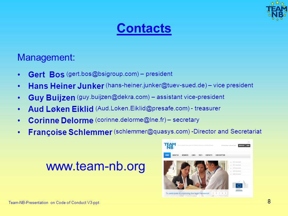 Contacts www.team-nb.org Management: