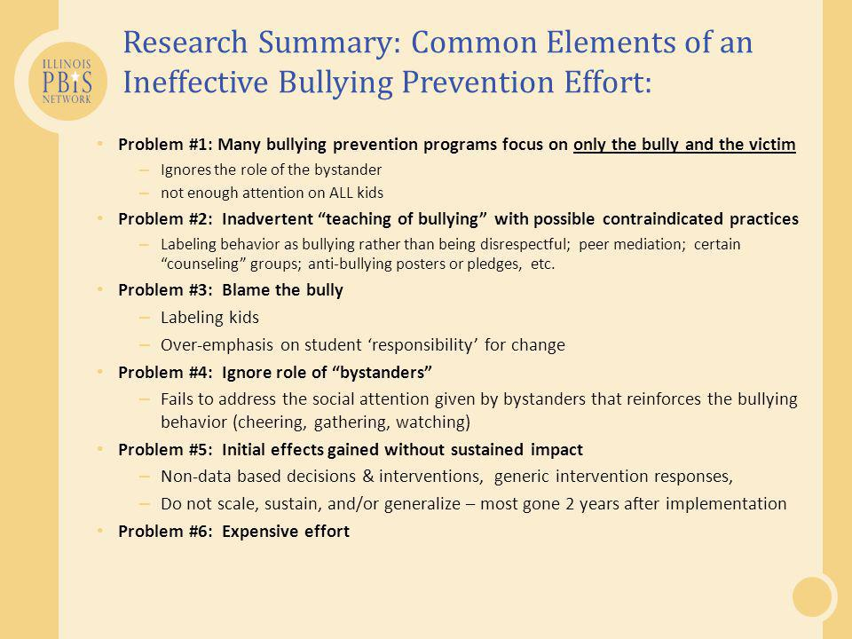 Research Summary: Common Elements of an Ineffective Bullying Prevention Effort: