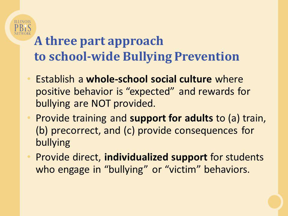 A three part approach to school-wide Bullying Prevention