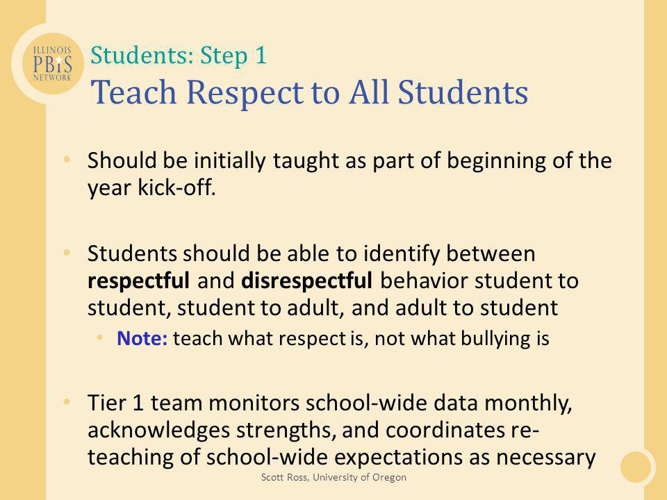 Students: Step 1 Teach Respect to All Students