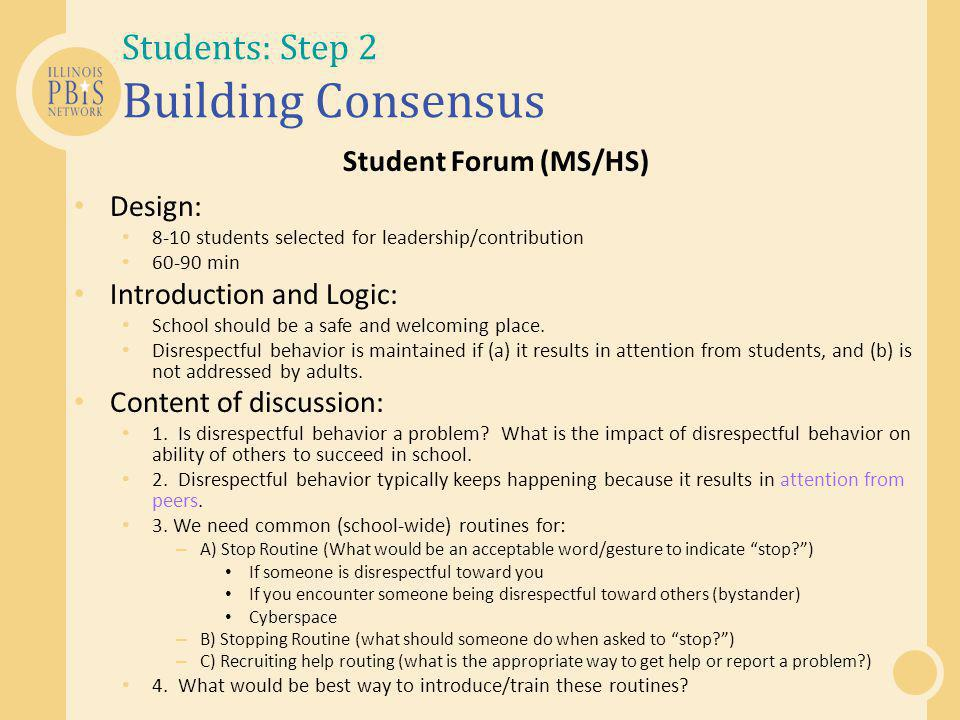 Students: Step 2 Building Consensus