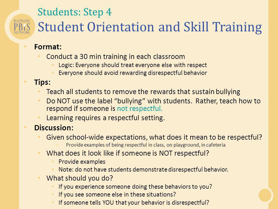 Students: Step 4 Student Orientation and Skill Training