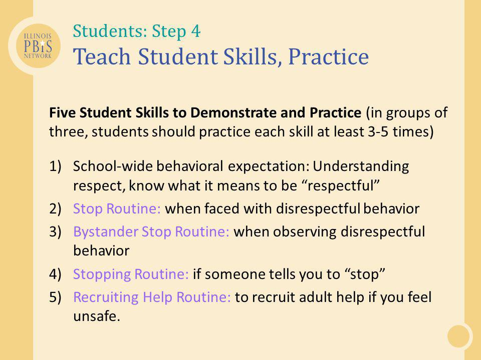 Students: Step 4 Teach Student Skills, Practice
