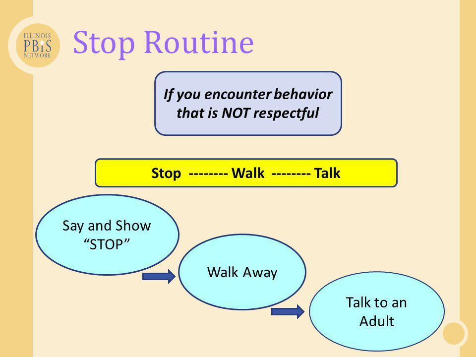 Stop Routine If you encounter behavior that is NOT respectful