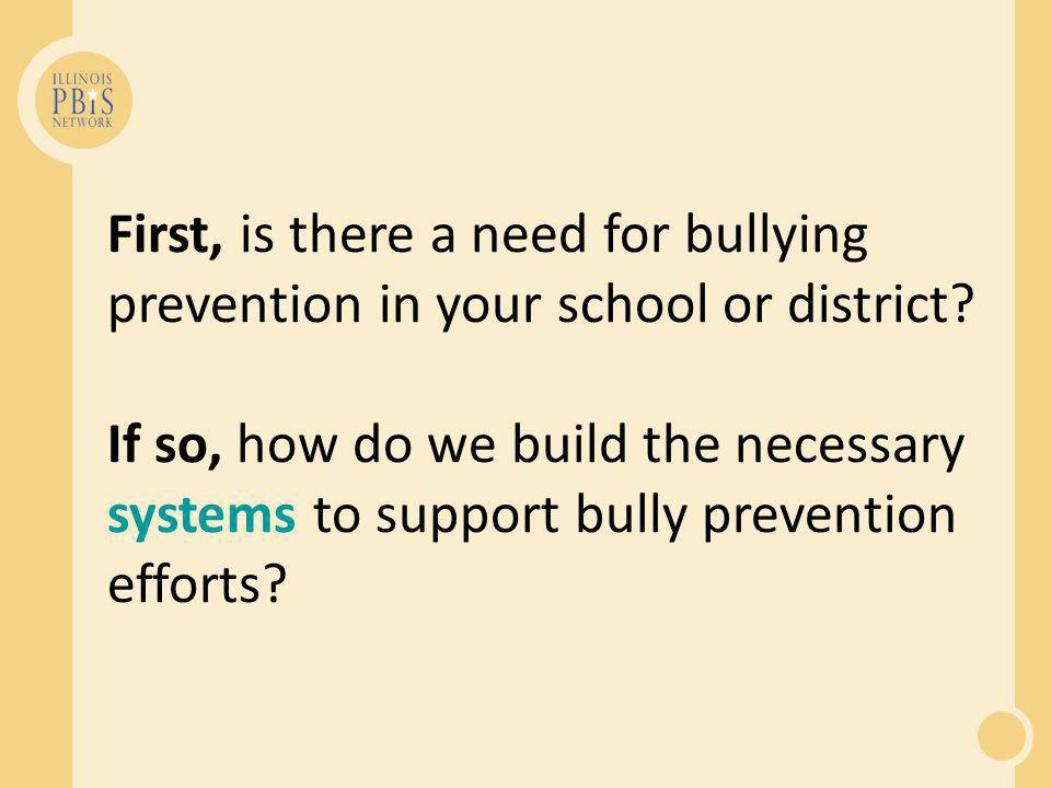 First, is there a need for bullying prevention in your school or district.