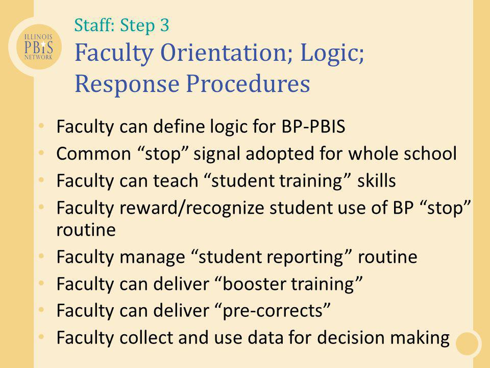 Staff: Step 3 Faculty Orientation; Logic; Response Procedures
