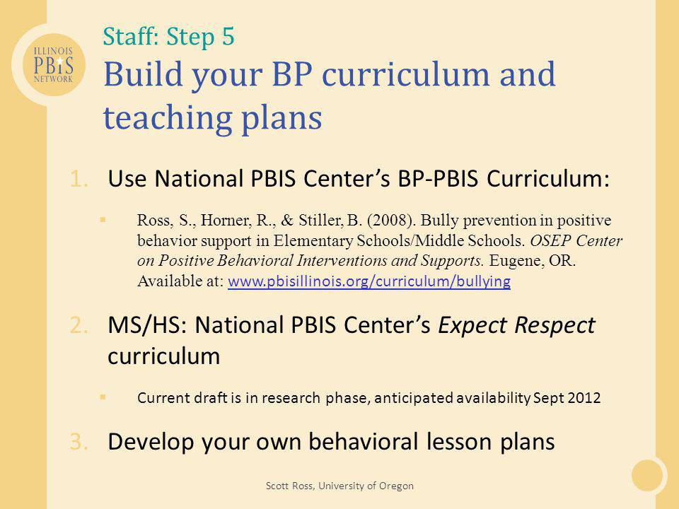 Staff: Step 5 Build your BP curriculum and teaching plans