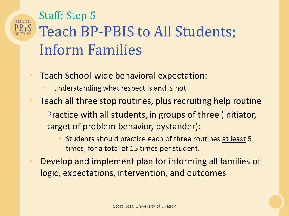 Staff: Step 5 Teach BP-PBIS to All Students; Inform Families