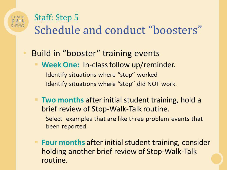 Staff: Step 5 Schedule and conduct boosters