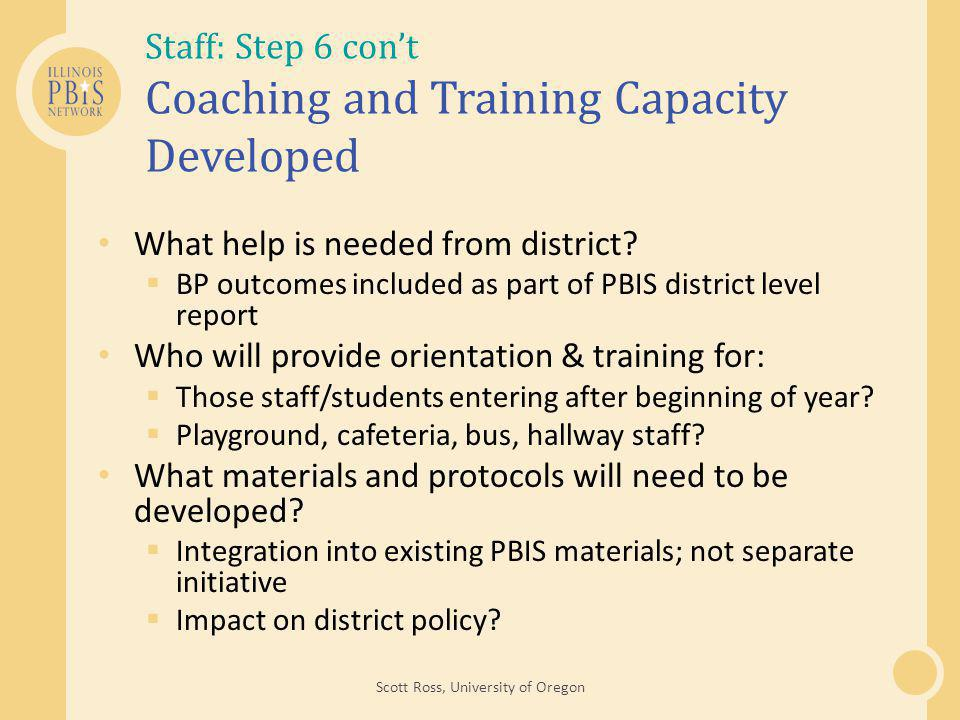 Staff: Step 6 con't Coaching and Training Capacity Developed