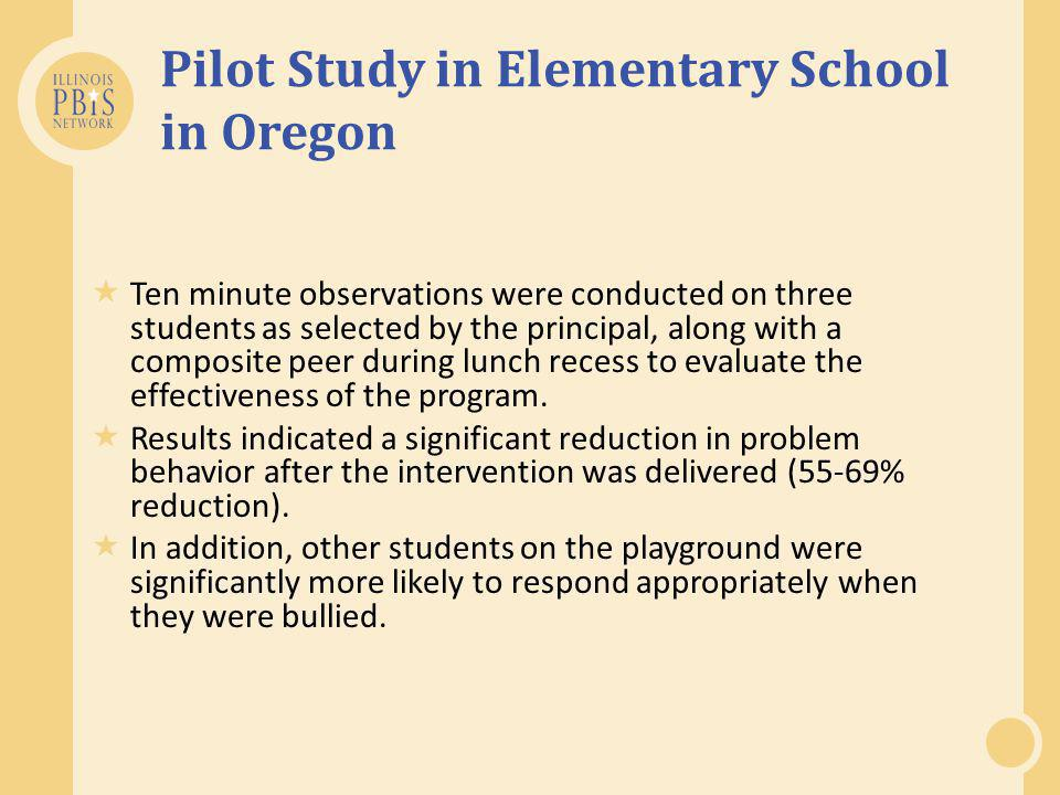 Pilot Study in Elementary School in Oregon